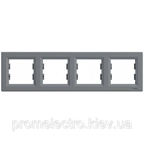 Рамка Schneider-Electric Asfora 4-постова горизонтальна сталь (EPH5800462), фото 2