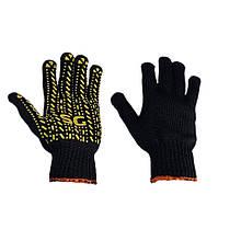 Перчатки рабочие чёрные Корона трикотажные с ПВХ покрытием