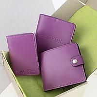 Подарочный набор №5: обложка на паспорт + обложка на документы + портмоне П1 (фуксия), фото 1