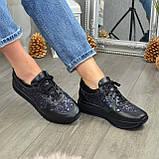 Стильные женские кожаные кроссовки на шнуровке, декорированы блестками, фото 3