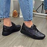 Стильные женские кожаные кроссовки на шнуровке, декорированы блестками, фото 4