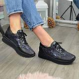 Стильные женские кожаные кроссовки на шнуровке, декорированы блестками, фото 5