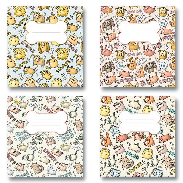 Зошит 12 аркушів, коса лінія з доп., 4 види, 25 шт. в упаковці, Тетрада, 407018