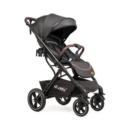 Дитяча прогулянкова коляска Ninos Uno Black Grey / Gold