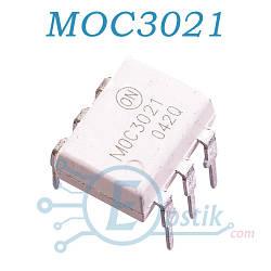 MOC3021, оптопара с симисторным выходом 400В, DIP6