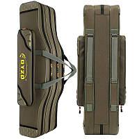 Сумка/чехол для удочек с катушками, тубус для удилищ, рыболовный рюкзак, нейлон olive 1620D 125см/3 отделения