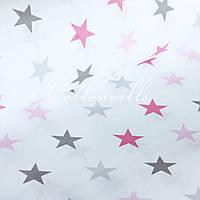 Відріз Бязь Сірі рожеві зірки (40 мм) 85х160 см