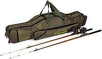 Сумка/чехол для удочек с катушками, тубус для удилищ, рыболовный рюкзак, нейлон olive 1620D 90см/2 отделения