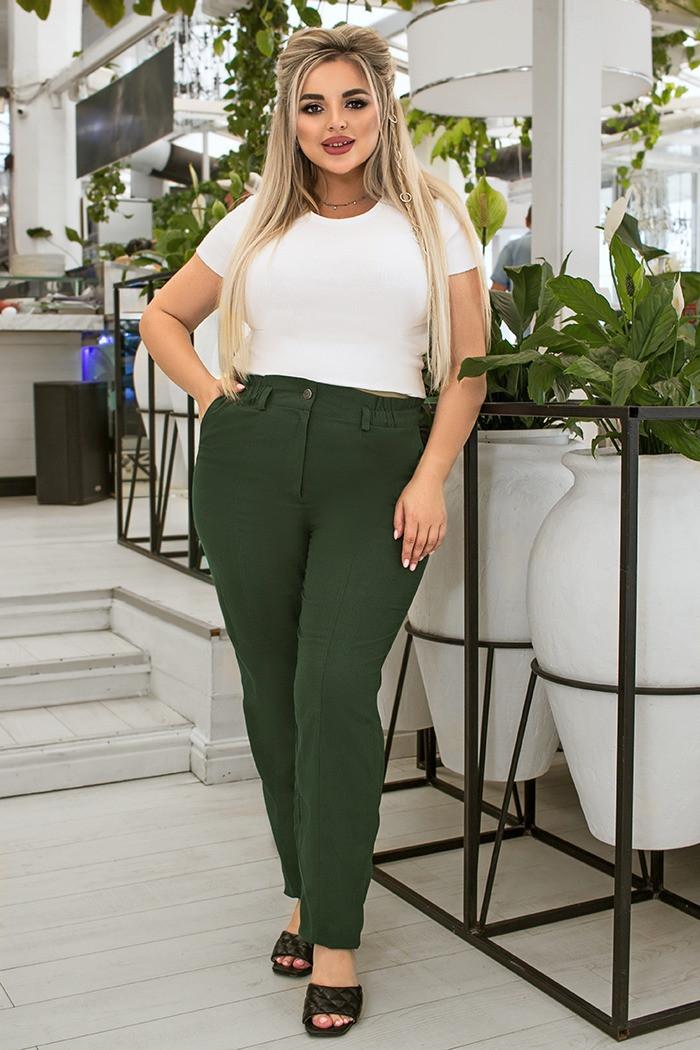 / Розмір 52,54,56,58,60,62 / Жіночі штани для дам з пишними формами з льону