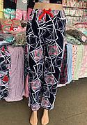 Штани жіночі бавовна з лайкрою забарвлення абстракція,кольори в асортименті