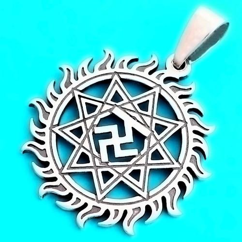 Чертог Вепря в Солнце серебряный кулон-оберег славянский (30 мм, 6.7 г, серебро 925 пробы)