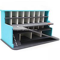 Деревянная игрушечная парковка-гараж для машин, бирюзовая, 65х35х35 см, на 28 машинок