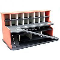 Деревянная игрушечная парковка-гараж для машин, красная, 65х35х35 см, на 28 машинок