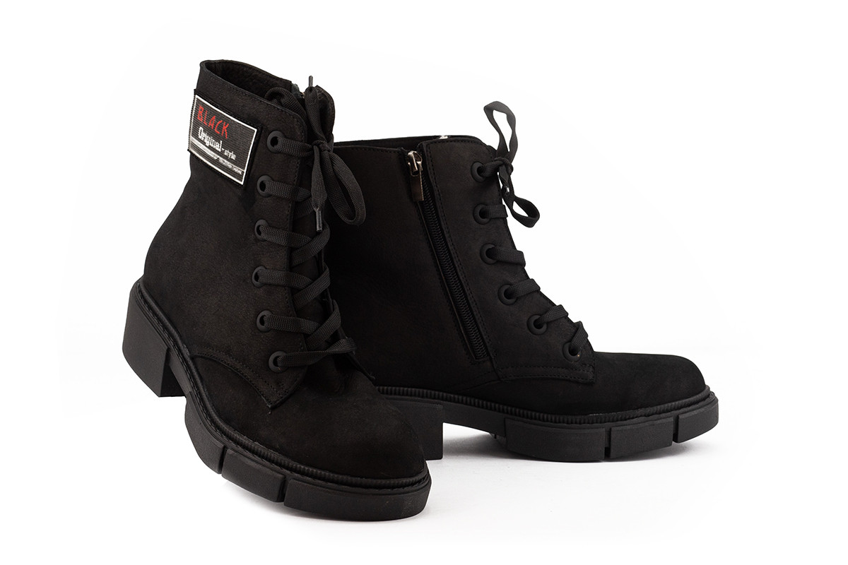 Женские ботинки кожаные зимние черные-матовые Topas Casual 11113