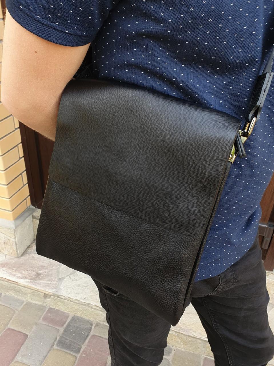 Барсетка чоловіча сумка через плече натуральна шкіра