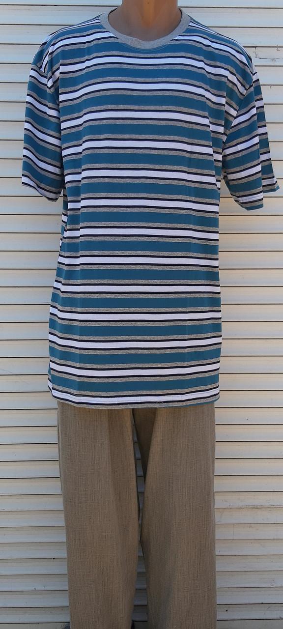 Мужская футболка большого размера Футболка из натуральной ткани Большая футболка 58 размер Серо-бирюзовые