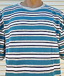 Мужская футболка большого размера Футболка из натуральной ткани Большая футболка 58 размер Серо-бирюзовые, фото 7
