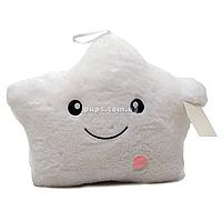 Мягкая игрушка подушка «Звездочка со светом» белый 40*30*15 см (0908)