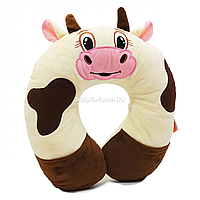 Мягкая игрушка подушка «Сонька Коровка» Копыця, бежевый/коричневый, с карманчиками, 30*30*8 см, (00295-88)