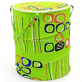 Кошик для іграшок зелена з кружечками на блискавки 45х49 см (1302)