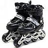 Ролики дитячі Happy Black чорні, розмір 29-33, метал, світяться колеса ПУ (153316501-M)