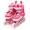 Ролики детские Happy Pink розовые, размер 31-33, металл, светящиеся колёса ПУ (1541065576-S)