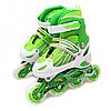 Ролики детские Power Champs, зеленый, алюминиевое шасси, колёса PU, размер 30-33, (POWER CHAMPS PVC S)