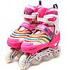 Ролики детские Scale Sports розовые, размер 39-42, металл, светящиеся колёса ПУ LF907ML-2