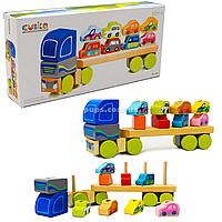 Дитячий дерев'яний конструктор Тягач з машинками Cubika(Кубики) 13418. Дерев'яні іграшки, фото 1