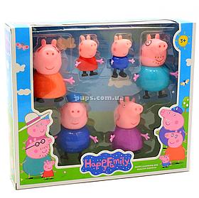 Дитячий ігровий набір фігурок «Сім'я Свинки Пеппі», 6 штук (PP605-6)