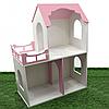 Игрушечный кукольный деревянный двухэтажный домик Unitywood, розовый, 78х59х30 см, (U-002)
