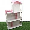 Игрушечный кукольный деревянный домик Unitywood (62х20х105 см), трехэтажный розовый