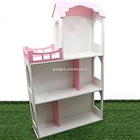 Игрушечный кукольный деревянный домик Unitywood (62х20х105 см), трехэтажный розовый, фото 1