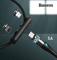 Магнитный кабель Baseus 5A 40W для быстрой зарядки Combo Micro USB/Lightning/Type-C Zinc Magnetic (черный)