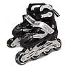 Роликовые коньки Scale Sports черно-белые, размер 31-34, металл, светящиеся колёса PU, (465976067-S)