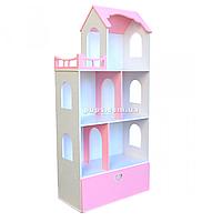 Игрушечный кукольный деревянный домик с ящиком для игрушек Unitywood «Натали» розовый, 132*60*31 см, (U-005), фото 1