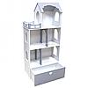 Игрушечный кукольный деревянный домик с ящиком для игрушек Unitywood серый. Обустройте домик для кукол