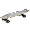 Скейтборд (лонгборд) с бесшумными колесами, 70х21 см, череп, с ручкой, колеса PU, d=7 см (32026)