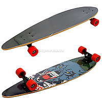 Скейтборд (лонгборд) з безшумними колесами, 85*22 см, вовк, колеса PU, d = 7 см (C32027), фото 1