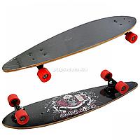 Скейтборд (лонгборд) з безшумними колесами, 85*22 см, череп і ангели, колеса PU, d = 7 см (C32027), фото 1