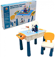 Столик-песочница с набором корструктора Yong Fa, игровой столик со стульчиком, 42*48*35 см, (222-B94)