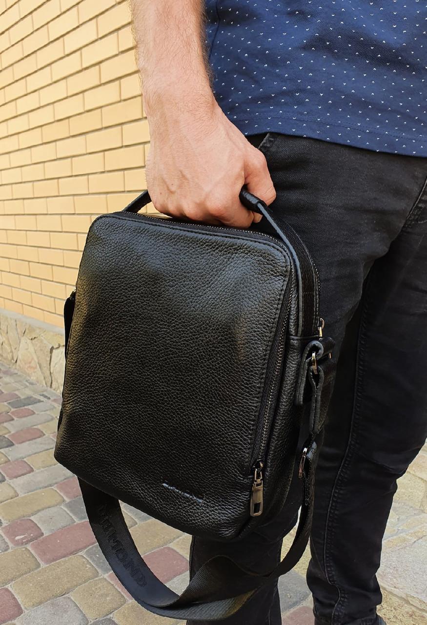 Мужская сумка барсетка через плечо натуральная кожа