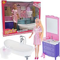 Набор игровой кукла Defa Lucy & Misil «Ванная комната», игрушечная мебель, аксессуары, 29 см, (8436)