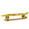 Пенні борд (скейт) жовтий з світяться колесами і ручкою. Безшумний Penny Board, 59*16*10 см, (MS 0461-2)