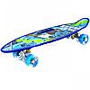 Пенни борд (скейт) синий со светящимися колесами и ручкой. Бесшумный Penny Board, 59*16*9 см, (MS 0461-2)