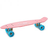 Пенні борд (скейт) з світяться колесами. Безшумний Penny Board Рожевий (566713973), фото 1