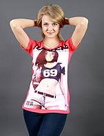 Модная женская футболка с принтом