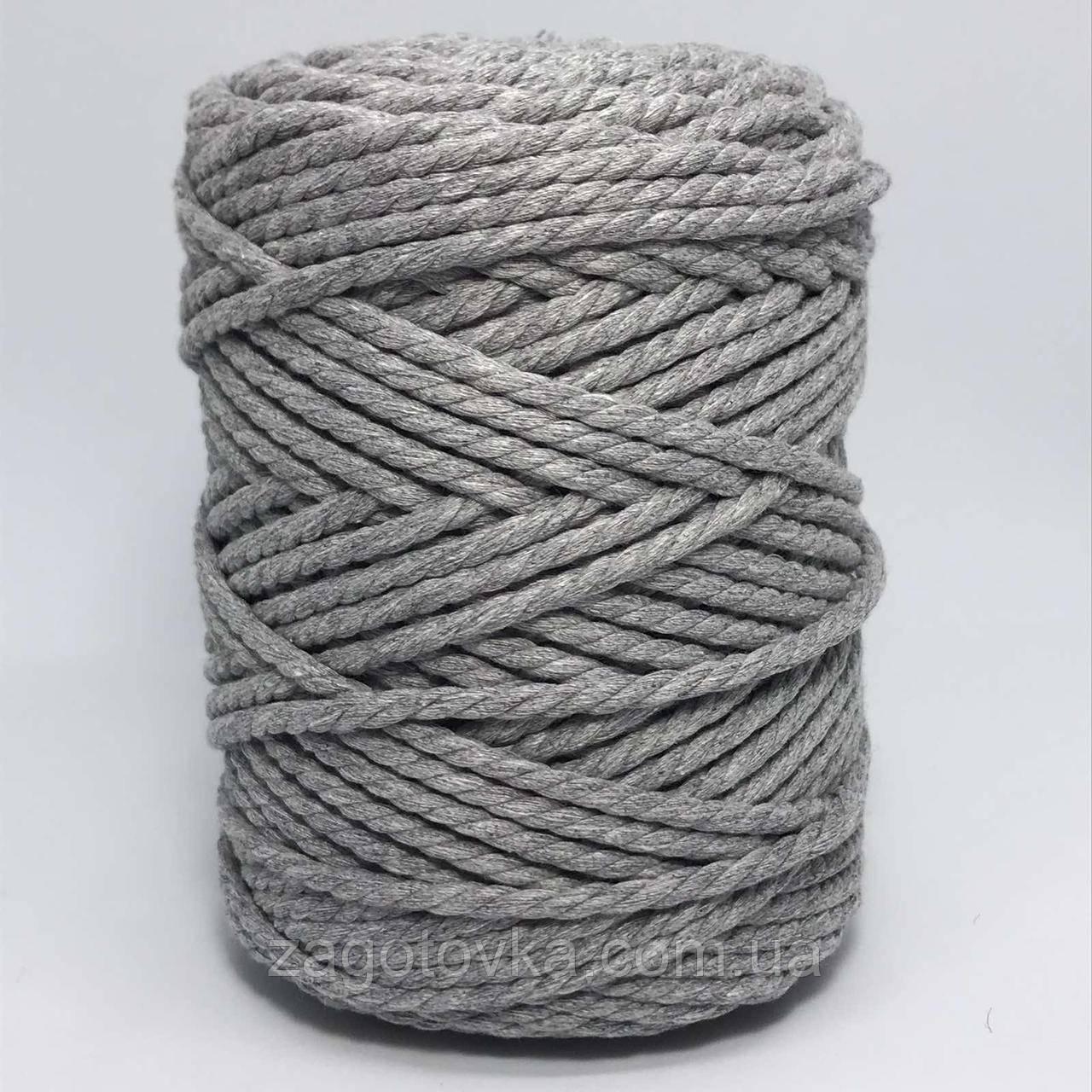 Шнур бавовняний Макраме 5,5 мм Світло-сірий