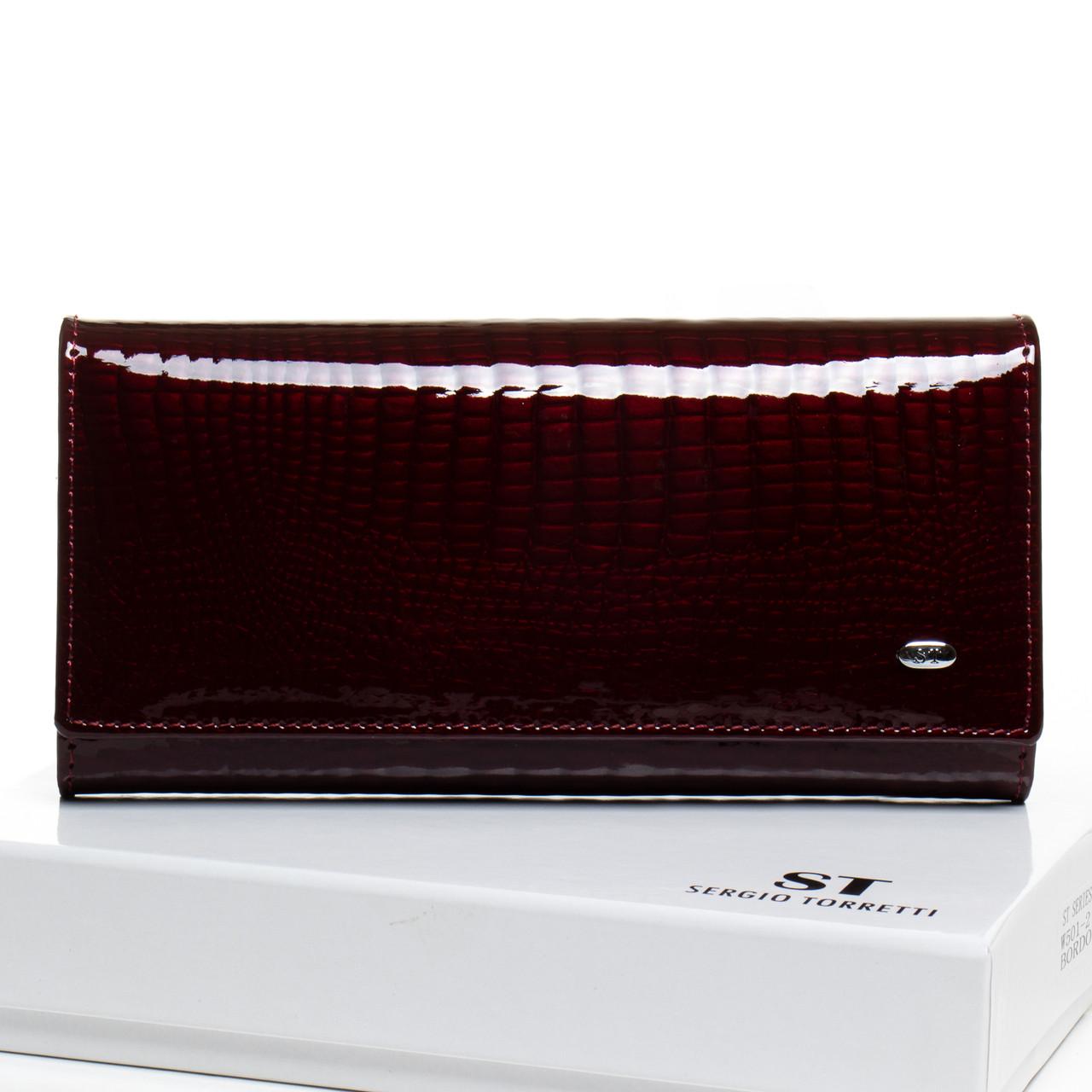 Кожаный кошелек на магните женский лаковый с двумя монетницами Бордовый Sergio Torretti  W501-2