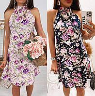 Яркое женское летнее платье-трапеция с проймой. Размер: 42 S, 44 M, 46 L, 48 XL. Цвет: синий, розовый + принт.